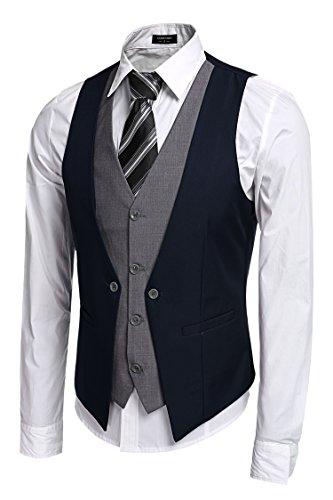 Coofandy Suit scollo a V vestito della maglia gilet commerciale Vintage uomo Vest
