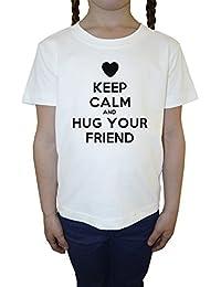 Keep Calm And Hug Your Friend Blanco Algodón Niña Niños Camiseta Manga Corta Cuello Redondo Mangas White Girls Kids T-shirt
