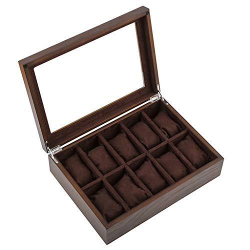 Uhrenbox Veranstalter Kissenbezug 10 Grid Uhr Display Aufbewahrungskoffer Schmuck Sammlung Fall Veranstalter Halter aus Holz mit Glasplatte -