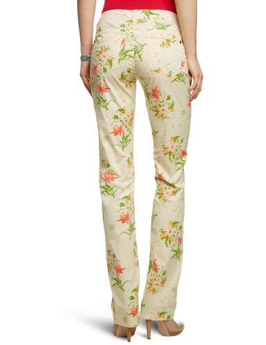 Timezone Damen Hose TahilaTZ 5-pocket pants 16-0194 Straight Fit (Gerades Bein), All over Druck Normaler Bund Beige (beige flower print 8129)