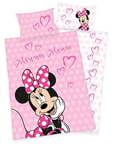 Disneys Minnie Mouse Bettwäsche 40x60 + 100x135cm 100% Baumwolle mit Reißverschluss (100 x 135 cm) Disney Mädchen Minnie Mouse