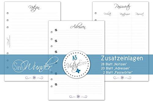 SinnWunder Set Notizen/Zusatzblätter zu Kalendarien Design VintageSinn Format DIN A5