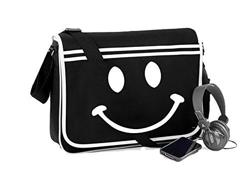 Smiley Face-Unisex-lustige Sprüche Neuheit Retro Messenger Bag- Schwarz