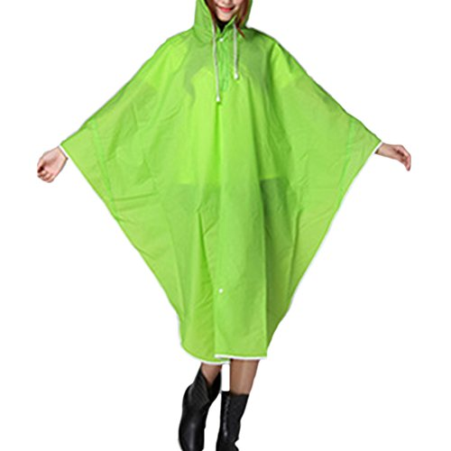 Zhhlaixing Bike Portable Solid color Fashion Waterproof Raincoat Cape Poncho Teal Green
