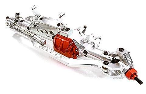Integy RC Modélisme Hop-ups OBM-1223SILVER Billet Usinée Complete Avant Axle Assembly for Axial 1/10 RR10 Bomber 4WD