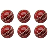 SST Leather Cricket Ball Red 4 Piece Ball Set Of 6 Leather Balls For Test Matchs One-Day Matchs And Practice High Quality