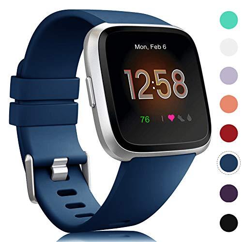 Onedream Kompatibel mit Fitbit Versa Armband & Versa Lite Armband Damen Herren - Weich Ersatzarmband Silikon Armbänder für Fitbit Versa Special Edition Sport Zubehör (Blau, S)