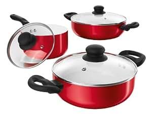 bratmaxx 08592 c ramique batterie de cuisine avec couvercle en verre rouge 6 pi ces. Black Bedroom Furniture Sets. Home Design Ideas