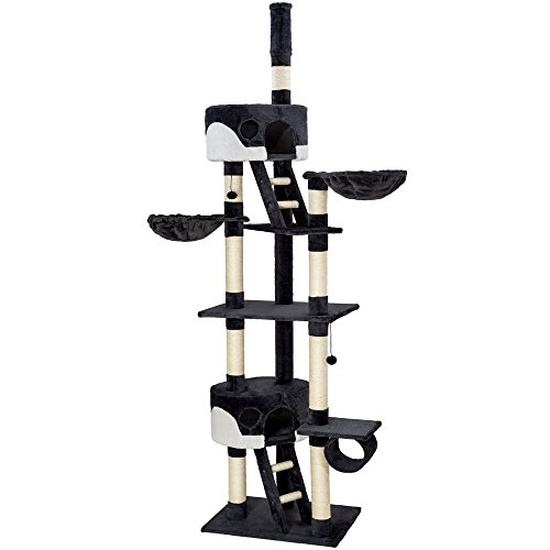 TecTake Cat scratcher activity center cat tree ceiling high 2.40-2.60m black white