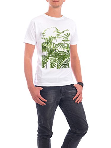 "Design T-Shirt Männer Continental Cotton ""Farn"" - stylisches Shirt Floral Natur von Tan Kadam Weiß"
