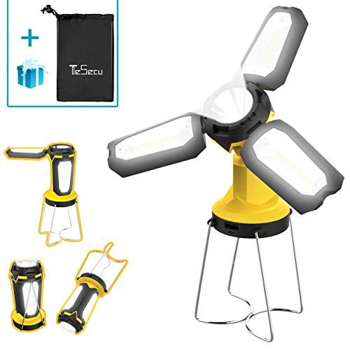 Tesecu Lanterna da Campeggio Torcia Lanterna LED 3 in 1, Lampada Ricaricabile USB...