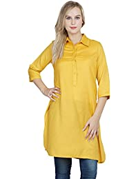 Patrorna Classic Collar Half Sleeve Cotton Viscose Mustard Yellow A-Line Kurti / Kurta For Women Ladies Girls...
