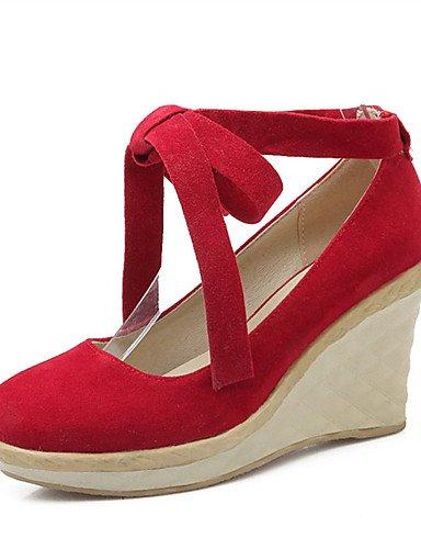 WSS 2016 Chaussures Femme-Mariage / Habillé / Décontracté / Soirée & Evénement-Noir / Rouge / Beige-Talon Compensé-Compensées-Talons-Laine beige-us5 / eu35 / uk3 / cn34