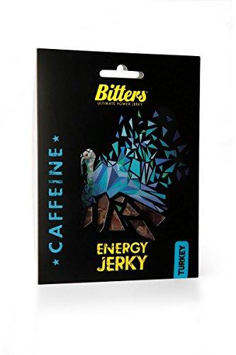 Bitters Energy Turkey Jerky Caffeine, Getrocknetes Putenfleisch mit Koffein - fein geräuchert,...