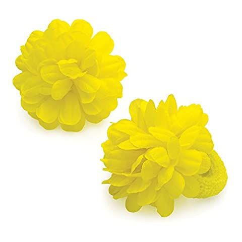 Chelsea Jones - 2 x Girls Bright Yellow Hair Flower Ponios/ Elastics/ Bobbles - 7 cm