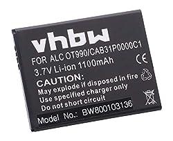 vhbw Li-Ion Akku 1100mAh (3.7V) für Handy Telefon Smartphone Alcatel One Touch POP, POP C3, POP C3 Dual, OT-4033D, OT-4033A wie CAB31P0000C1, BY71.