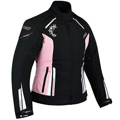 Motorrad Damen Wasserdicht Jacke mit Protektoren Sommer Winter Textil Frauen - schwarz-Rose (S, Rosa) (Rosa Und Schwarz Winter Jacke)