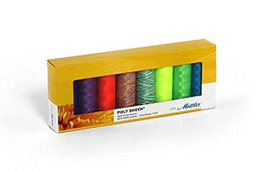 Mettler-Polysheen Polyester Maschine Stickgarn Geschenk Set Kit Neon–Pro 8Stück (Mettler-polyester-faden)