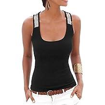 Camiseta Sin Mangas Clásico Para Mujer Lentejuela Correa Tops Negro S