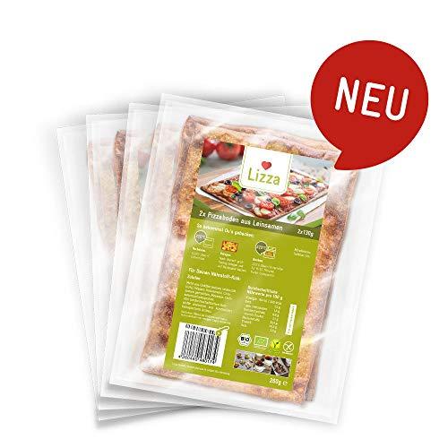 Lizza Low Carb Pizzaboden aus Leinsamen und Chiasamen. Bio. Glutenfrei. Vegan. (8 x 130g)