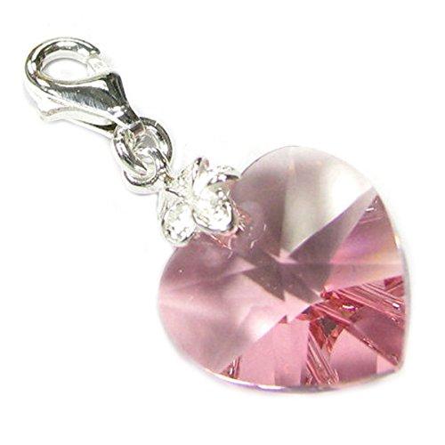 Sterling Silber Swarovski Elements rosa Oktober Geburtsstein Simuliert europäischen Hummer Stil Charme (Rosa Hummer)