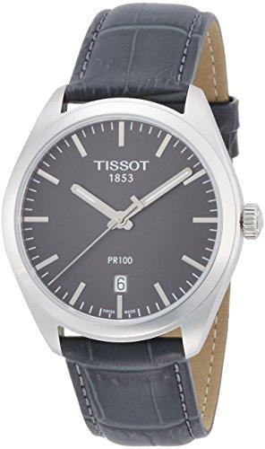 TISSOT HERREN-ARMBANDUHR ARMBAND LEDER GRAU SCHWEIZER QUARZ T1014101644100 (Leder Armbanduhr Tissot)