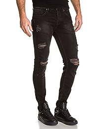 BLZ jeans - Jean slim noir homme destroy