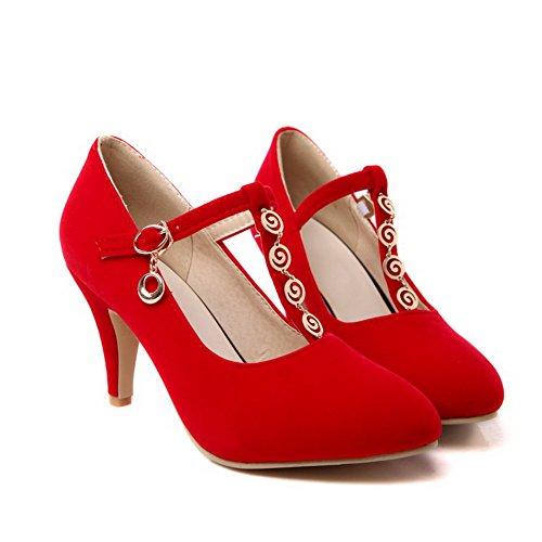 VogueZone009 Femme Stylet Dépolissement Couleur Unie Boucle Pointu Chaussures Légeres Rouge