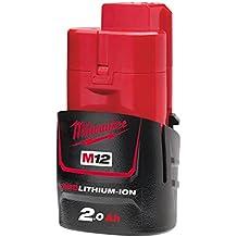 Milwaukee M12B2 - Batería de ión-litio (2,0A), color rojo