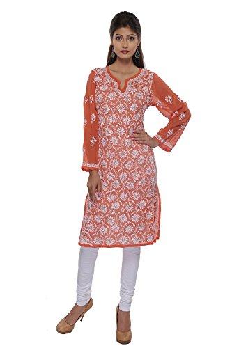 ADA Lucknowi Chikankari Handicraft Faux Georgette Kurti Dress Regular Wear A122993