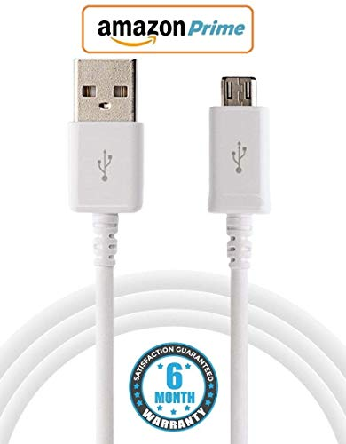 Evynza Micro USB Tough & Unbreakable Braided Cable 2.4 AMP Fast Charging & Data Sync USB Cable Compatible for All Samsung, Lenovo, Xiaomi MI, Vivo, Oppo & All Android Devices – (White)