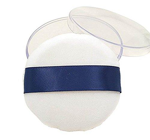 Lot de 1 Big Taille ronde Coussin d'Air en peluche éponge Powder Puff maquillage houppette Poudre Puff pour bébé avec une Houpette Boîte Boîte pour maquillage plus naturel (Blanc)