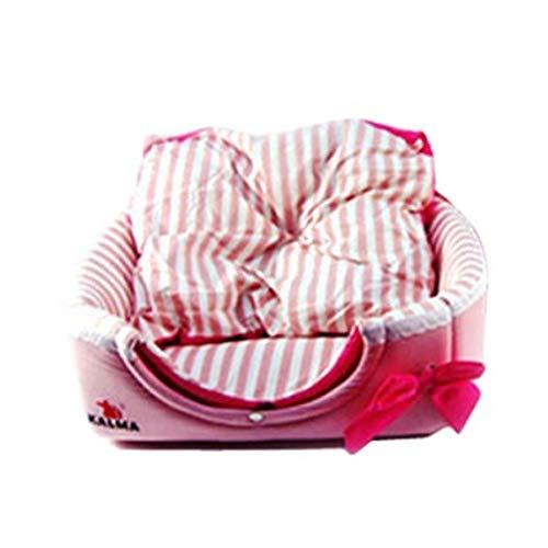 XGPT Hund Bed Pet Kissen Luxury Soft Warm Basket Welket Mat Große Kleine Comfy Cotton Leinwand Jururt,Pink,M -