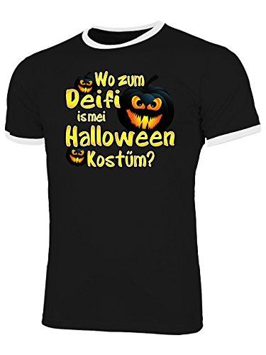 Halloween Kostüm! 4432 Fun Shirt Männer mit Spruch lustig Herren Ringer Tshirts Schwarz Weiss XL ()