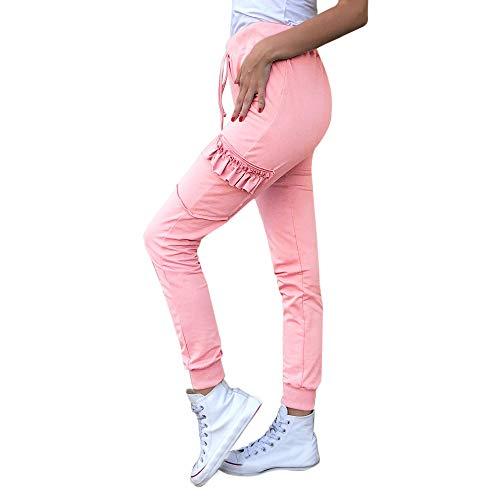 MYMYG Freizeithosen Frauen Feste elastische Taille Bandage Hose Taschen Rüschen Leggings Workout Sweatpants Stretchy Slim Fit Skinny Bleistifthose Push up Hüfte Elegant ()