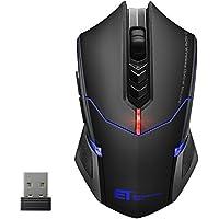 Mouse da gioco wireless dpi, Victsing Gaming Mouse senza fili 7pulsanti con ricevitore Nano ottico regolabile 800–1200–1600–2000–2400dpi per giocatori gamer ufficio biblioteca, per PC portatili e computer notebook, nero