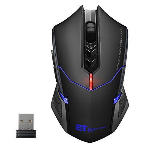 VicTsing Mouse Gaming Wireless USB Mouse da Gioco Wireless Silenzioso 2400DPI, 7 Pulsanti Tranquilli, 5 DPI Regolabile, per PC Laptop Computer, Nero