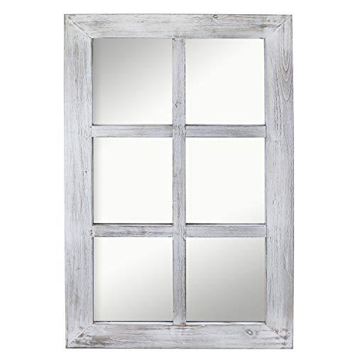 Barnyard Designs Decorativo Windowpane Espejo, rústica Granja de Madera Apenado Vertical Espejo Colgante...