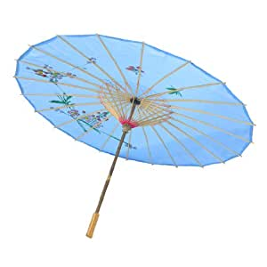 Ombrello Parasole Cinese di Bamboo con Susino in Fiore su Blu Maya