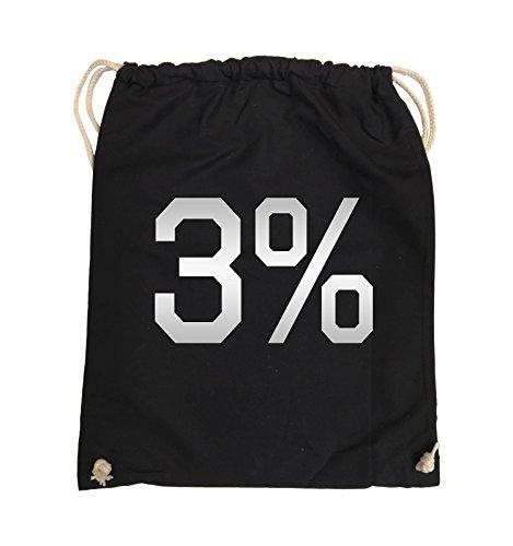 Comedy Bags - 3% - LOGO - Turnbeutel - 37x46cm - Farbe: Schwarz / Pink Schwarz / Silber