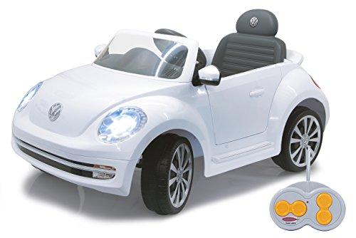 Jamara 460220 - Ride-on VW Beetle weiß 27MHz 6V - Leistungsstarker Antriebsmotor und Akku, Ultra-Gripp Gummiring am Antriebsrad, LED-Scheinwerfer, Fahrertür lässt sich öffnen, Hupe und Sound*