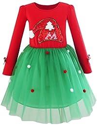Sunny Fashion Vestido para niña Navidad Papá Sombrero Largo Manga Fiesta 6-12 años