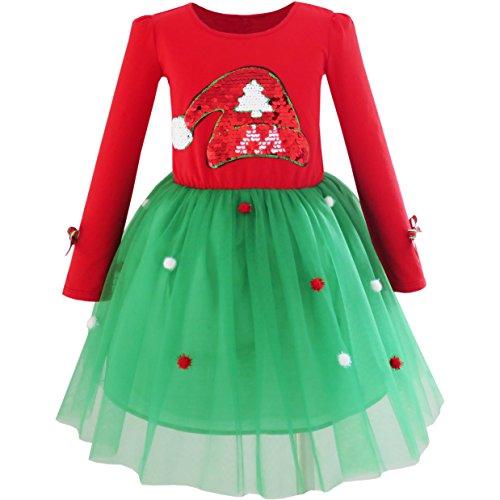 Mädchen Kleid Weihnachtsmann Hut Lange Ärmel Kleiden Gr. (Weihnachtsmann Mädchen Kleid)