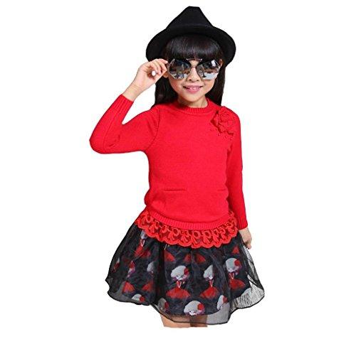 SHISHANG boutique di abbigliamento per bambini maglioni maglione di cotone per bambini di fascia alta toccare il fondo maglione ragazze grosso maglione vergine + skirt , 6606 red , 140