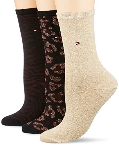 Tommy Hilfiger Damen TH WOMEN 3P GIFTBOX LUREX Socken, Mehrfarbig (Bordeaux 070), 39/42 (Herstellergröße: 039) (3er Pack)