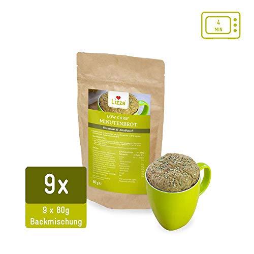 Lizza Low Carb Tassenbrot Knoblauch & Rosmarin | Brot in 4 Minuten | bis zu 87% weniger Kohlenhydrate | Ohne Gluten | für Keto, Low Carb Diät sowie Muskelaufbau | Bio. Glutenfrei. Vegan. | 9er Set