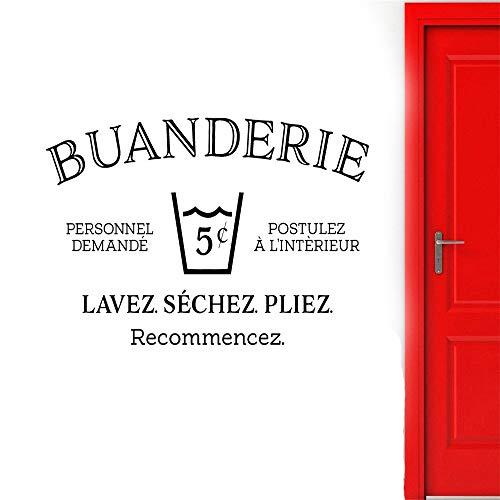 yiyiyaya Buanderie Sticker Mural Français pour Buanderie Buanderie Décoration Lavage Sec Pli Répéter Signes Porte Sticker Amovible Rouge 57x34 cm
