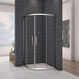 Aica Bathrooms 900 x 900 mm Quadrant Enclosure 6mm Easy Clean Glass Sliding Shower Cubicle Door, Chrome, 900x900mm