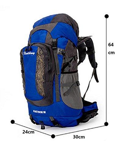 LQABW Outdoor Alpinismo Grande 80L Capienza Impermeabile E Traspirante Sospensione Staffa Zaino Camping Walking Borsa A Tracolla,Blue Orange