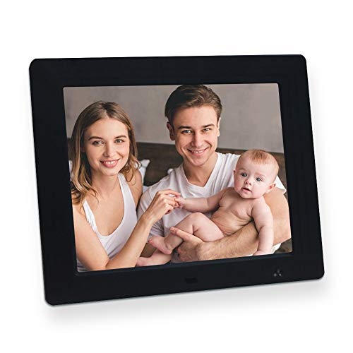 Jimwey Digitaler Bilderrahmen 8 Zoll 4:3 Bewegungssensor Elektronischer Fotorahmen Video Musik Foto Player mit 1080P Full HD IPS Display Digitaluhr Kalendar Wecker Automatische Diashow -